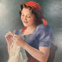 Antique Signed Oil Painting Portrait of Gypsy Girl Sewing with Thimble (4 of 10)