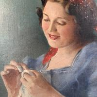 Antique Signed Oil Painting Portrait of Gypsy Girl Sewing with Thimble (5 of 10)