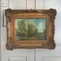 Antique Landscape Oil Painting in Gesso Frame of Farm Scene with Horses & Dog Signed W F Price '1 of 2' (2 of 11)