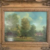 Antique Landscape Oil Painting in Gesso Frame of Farm Scene with Horses & Dog Signed W F Price '1 of 2' (3 of 11)