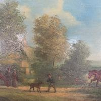 Antique Landscape Oil Painting in Gesso Frame of Farm Scene with Horses & Dog Signed W F Price '1 of 2' (4 of 11)
