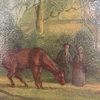 Antique Landscape Oil Painting in Gesso Frame of Farm Scene with Horses & Dog Signed W F Price '1 of 2' (5 of 11)