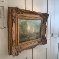 Antique Landscape Oil Painting in Gesso Frame of Farm Scene with Horses & Dog Signed W F Price '1 of 2' (9 of 11)