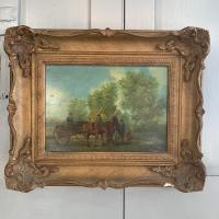 Antique Landscape Oil Painting in Gesso Frame of Farm Scene with Horses & Cart Signed W F Price '2 of 2' (2 of 9)