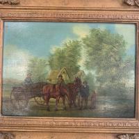 Antique Landscape Oil Painting in Gesso Frame of Farm Scene with Horses & Cart Signed W F Price '2 of 2' (3 of 9)