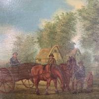 Antique Landscape Oil Painting in Gesso Frame of Farm Scene with Horses & Cart Signed W F Price '2 of 2' (4 of 9)