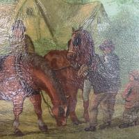 Antique Landscape Oil Painting in Gesso Frame of Farm Scene with Horses & Cart Signed W F Price '2 of 2' (5 of 9)