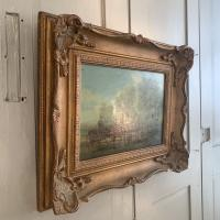 Antique Landscape Oil Painting in Gesso Frame of Farm Scene with Horses & Cart Signed W F Price '2 of 2' (7 of 9)