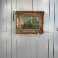 Antique Landscape Oil Painting in Gesso Frame of Farm Scene with Horses & Cart Signed W F Price '2 of 2' (9 of 9)