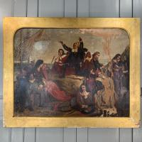Antique Georgian Oil Painting of the Pilgrim Fathers Dated 1820 (2 of 15)