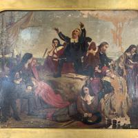 Antique Georgian Oil Painting of the Pilgrim Fathers Dated 1820 (3 of 15)