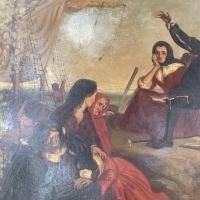 Antique Georgian Oil Painting of the Pilgrim Fathers Dated 1820 (5 of 15)