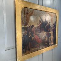 Antique Georgian Oil Painting of the Pilgrim Fathers Dated 1820 (12 of 15)