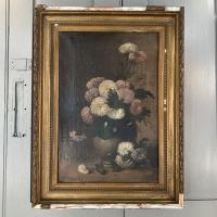 Antique Still Life Oil Painting of Vase of Flowers (3 of 10)