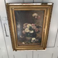 Antique Still Life Oil Painting of Vase of Flowers (7 of 10)