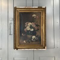 Antique Still Life Oil Painting of Vase of Flowers (2 of 10)