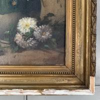 Antique Still Life Oil Painting of Vase of Flowers (8 of 10)