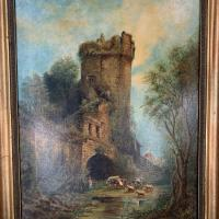 Antique Victorian Landscape Oil Painting of Ruined Castle and Cattle Signed J Rigg 1895 (3 of 10)