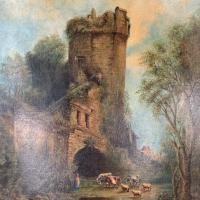 Antique Victorian Landscape Oil Painting of Ruined Castle and Cattle Signed J Rigg 1895 (10 of 10)