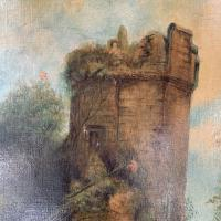 Antique Victorian Landscape Oil Painting of Ruined Castle and Cattle Signed J Rigg 1895 (5 of 10)