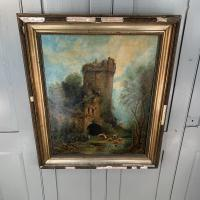 Antique Victorian Landscape Oil Painting of Ruined Castle and Cattle Signed J Rigg 1895 (8 of 10)