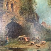 Antique Victorian Landscape Oil Painting of Ruined Castle and Cattle Signed J Rigg 1895 (4 of 10)