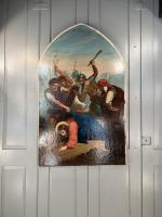 Antique French Gothic Religious Oil Painting Study of One of the Stations of the Cross (8 of 9)