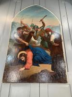 Antique French Gothic Religious Oil Painting Study of One of the Stations of the Cross (7 of 9)