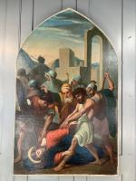 Antique French Gothic Religious Oil Painting Study of One of the Stations of the Cross (2 of 10)