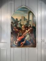Antique French Gothic Religious Oil Painting Study of One of the Stations of the Cross (9 of 10)