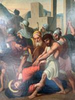 Antique French Gothic Religious Oil Painting Study of One of the Stations of the Cross (3 of 10)