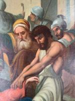 Antique French Gothic Religious Oil Painting Study of One of the Stations of the Cross (5 of 10)
