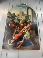Antique French Gothic Religious Oil Painting Study of One of the Stations of the Cross (7 of 10)