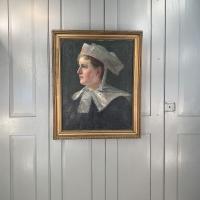 Antique French Oil Painting Portrait Possibly a Nurse's Uniform (10 of 10)