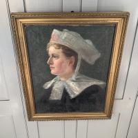 Antique French Oil Painting Portrait Possibly a Nurse's Uniform (6 of 10)