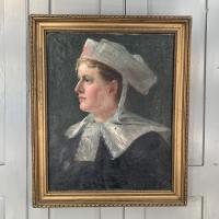 Antique French Oil Painting Portrait Possibly a Nurse's Uniform (2 of 10)
