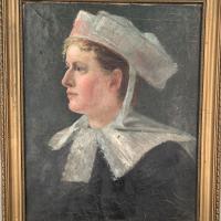 Antique French Oil Painting Portrait Possibly a Nurse's Uniform (3 of 10)