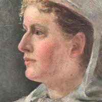 Antique French Oil Painting Portrait Possibly a Nurse's Uniform (5 of 10)