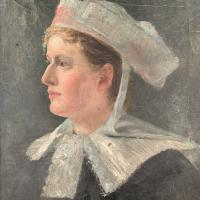Antique French Oil Painting Portrait Possibly a Nurse's Uniform (4 of 10)