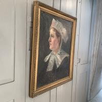Antique French Oil Painting Portrait Possibly a Nurse's Uniform (7 of 10)