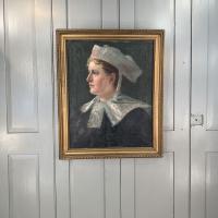 Antique French Oil Painting Portrait Possibly a Nurse's Uniform (9 of 10)