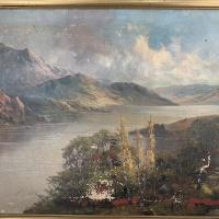 Antique Welsh Landscape Oil Painting Lake and Mountains Signed Joel Owen 1918 (3 of 10)