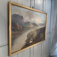 Antique Welsh Landscape Oil Painting Lake and Mountains Signed Joel Owen 1918 (8 of 10)