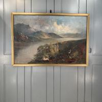 Antique Welsh Landscape Oil Painting Lake and Mountains Signed Joel Owen 1918 (9 of 10)