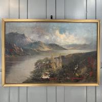 Antique Welsh Landscape Oil Painting Lake and Mountains Signed Joel Owen 1918 (2 of 10)