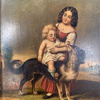 Antique Oil Painting Study of Lady Baby & Dog (4 of 10)