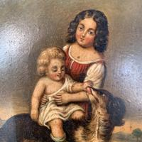 Antique Oil Painting Study of Lady Baby & Dog (5 of 10)