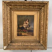Antique Oil Painting Study of Lady Baby & Dog (10 of 10)