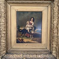 Antique Oil Painting Study of Lady Baby & Dog (2 of 10)