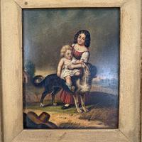 Antique Oil Painting Study of Lady Baby & Dog (3 of 10)
